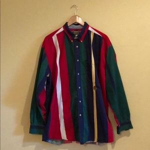 Men's red green& blue button down